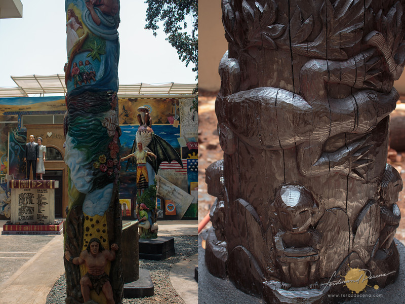 The totem poles at the museum grounds