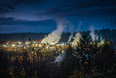 Lumber Mill at Night, Shelton, WA