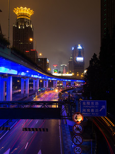 Shanghai at night, near our hotel
