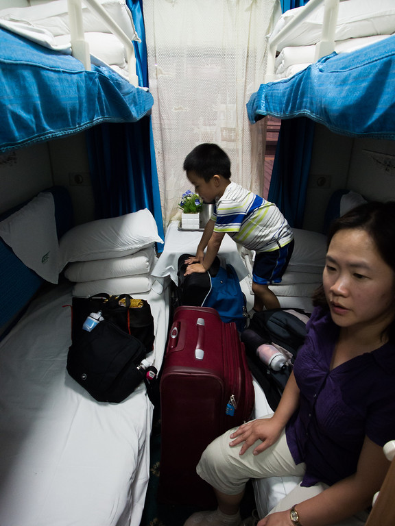 Our soft sleeper cabin, from Yichang to Zhenjiang