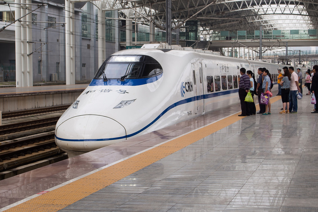 Waiting to board bullet train to Shanghai