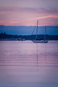 Sailboat at anchor in Budd Inlet