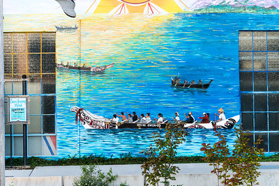 Another view of the Native American mural