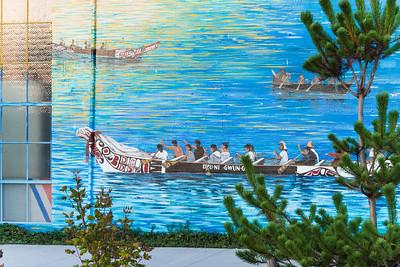 Native American mural at Percival Landing