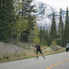 Skiing with rollerblades on the Highway