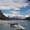 View of the docks and Lake Minnewanka as we continue our drive around the Loop