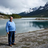 Gary poses with the beautiful scenery at Spray Lakes Reservoir