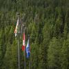 Flags at Yoho National Park Visitors Centre, Alberta, Canada