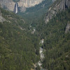 Bridalveil Fall and Merced River viewed from Big Oak Flat Road