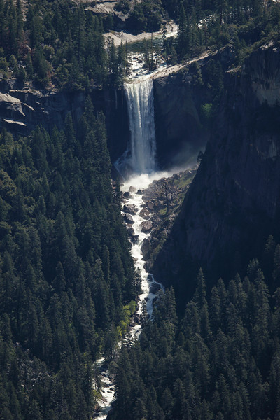 Vernal Fall is a 317-foot waterfall (view from Washburn Point)