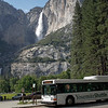 Both Upper Yosemite Fall and Lower Yosemite Fall can be seen from the Yosemite Falls Shuttle Stop