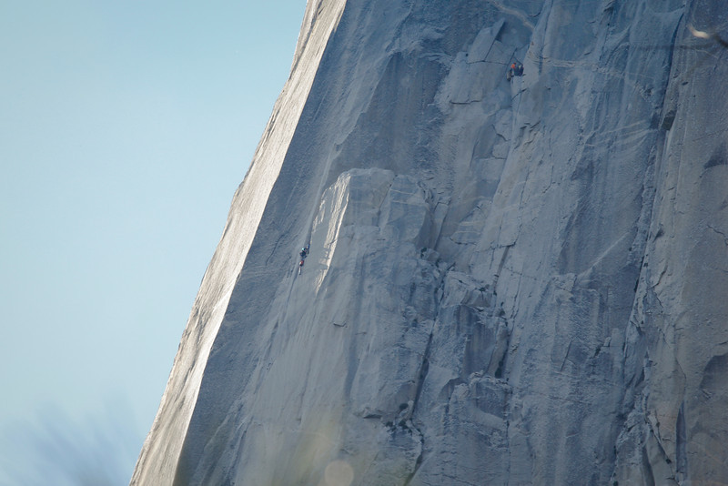 Look closely near the middle and top of the photo and you will see a couple of groups of climbers on El Capitan