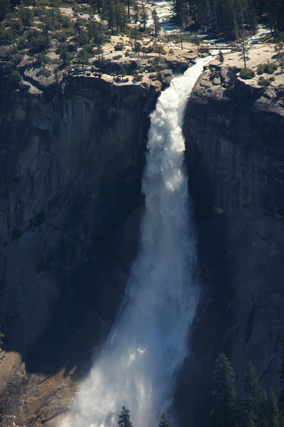 Nevada Fall is a 594-foot high waterfall on the Merced River (view from Washburn Point)