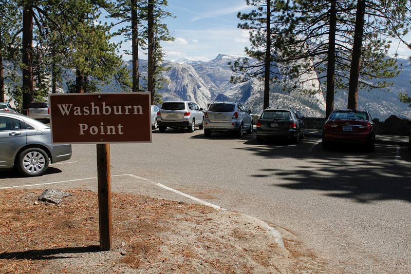 Washburn Point elevation is 7,500 feet and provides the first views of Half Dome as you drive Glacier Point Road