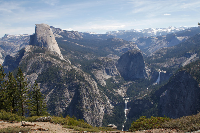 Half Dome, Nevada Fall (far right) and Vernal Fall (lower waterfall) as seen from Washburn Point