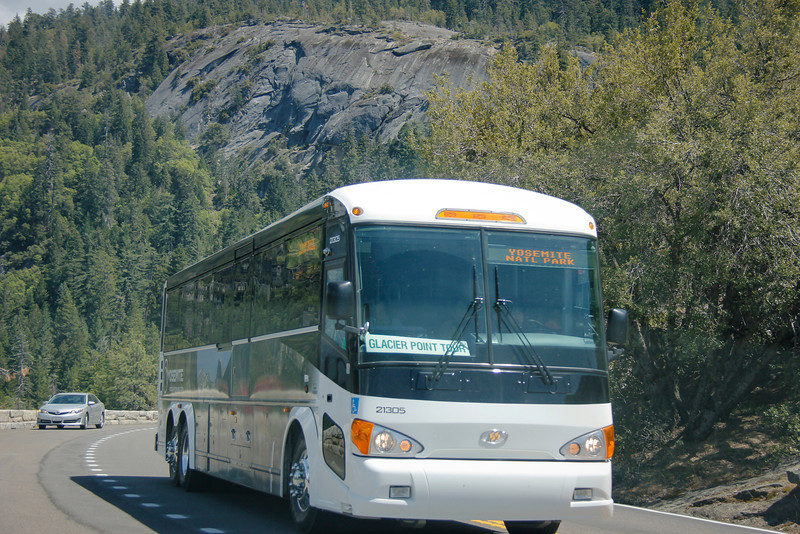 One of the Park Tour Buses pulling into the Turtleback Dome Turnout