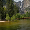 Cathedral Beach Scene with Upper Yosemite Fall