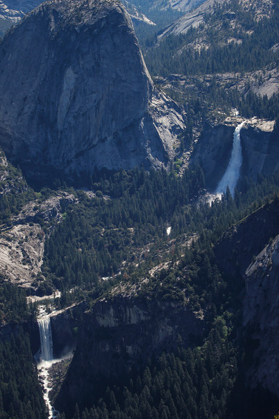 Vernal Fall (left) and Nevada Fall (right) as seen from Washburn Point
