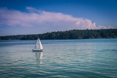 Sailboat enjoying the beautiful weather in the Straits of Juan de Fuca