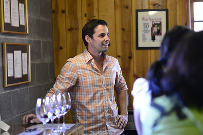 Wine testing at winery