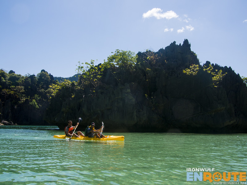 Seeing a couple of foreign kayakers in Cadlao Lagoon