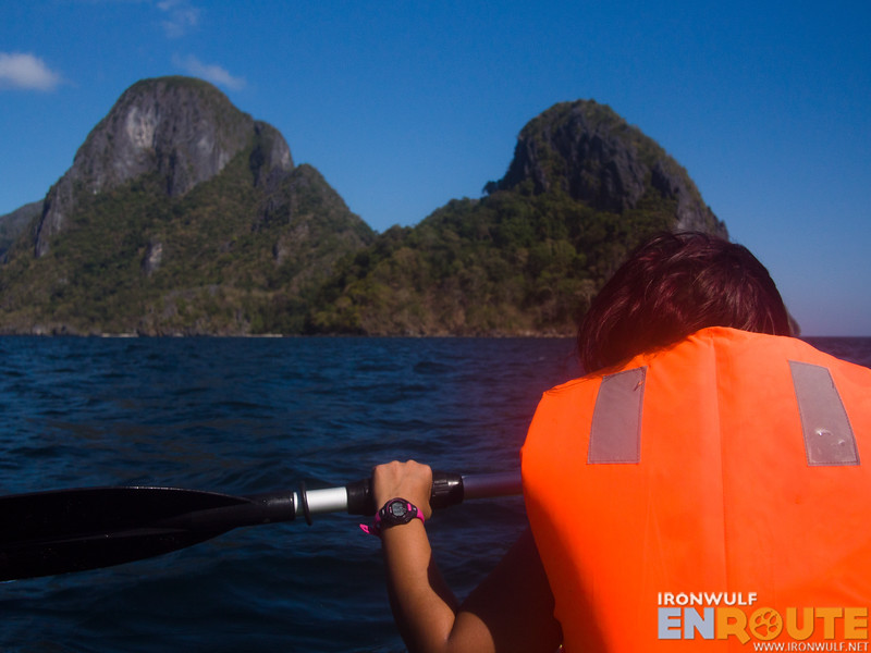Heading to Cadlao Lagoon with my kayak partner in front