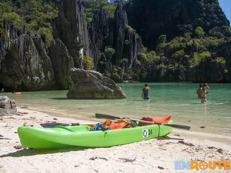 Our kayak parked at the Cadlao Lagoon
