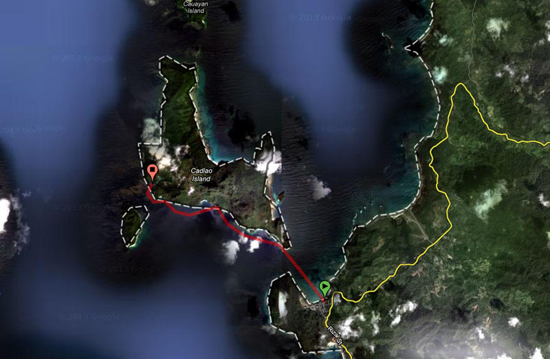Our kayak route in red line at about 7km one way