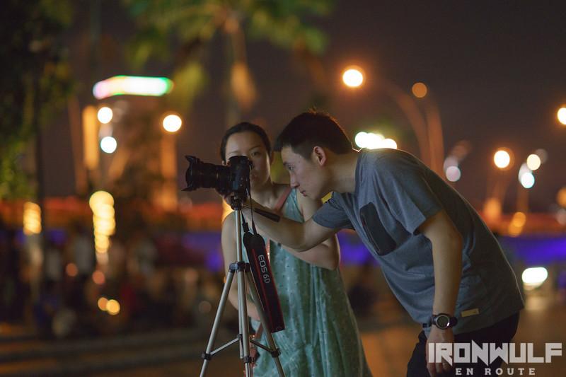 Shooting couple at Marina Bay