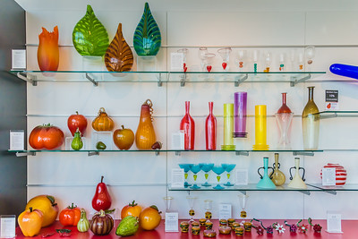 Glass work on the shelves of the gift shop in the Tacoma Glass Museum