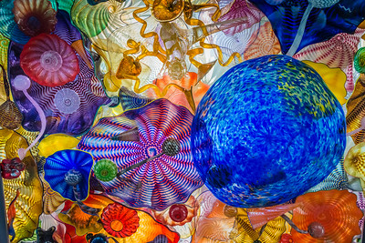 Looking up at the ceiling of the Chihuly Bridge of Glass.