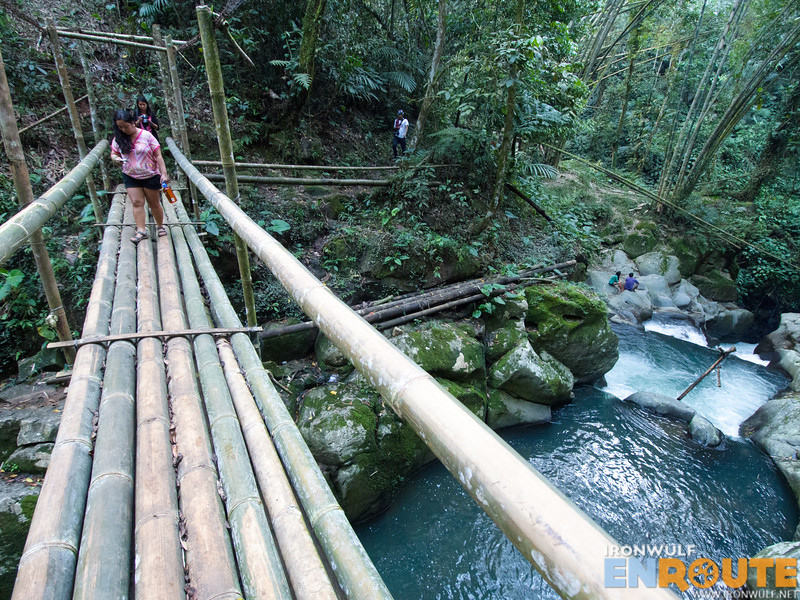 Bamboo bridge over the stream leading to Gantungan Falls