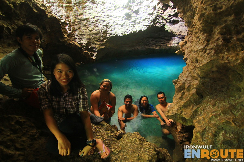 The Travel Mindanao gang enjoying one of the blue water cave chambers