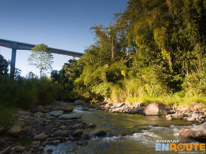Under the Atugan Bridge, the start of the trek