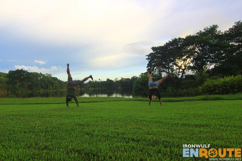 Doing cartwheel on the squishy grounds with Shugah