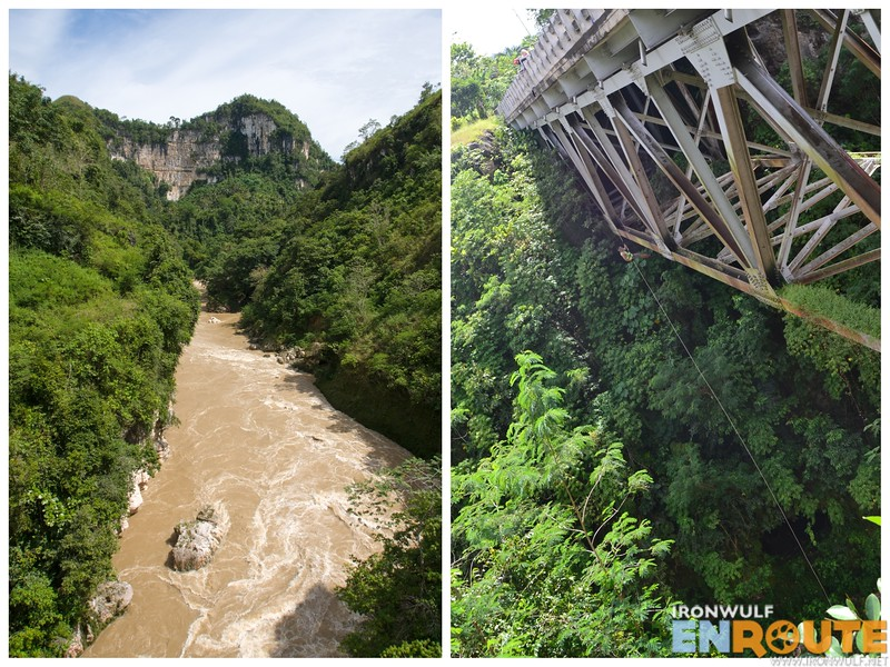 The Pulangi River (left) and Pulangi bridge rappel seen on the side (right: photo by Alex)