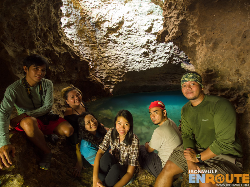 Group hug photo of some of the TravelMindanao team at Blue Water Cave