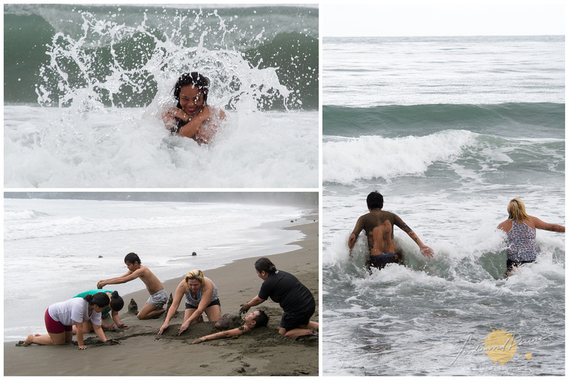 The team enjoying the waves and the beach