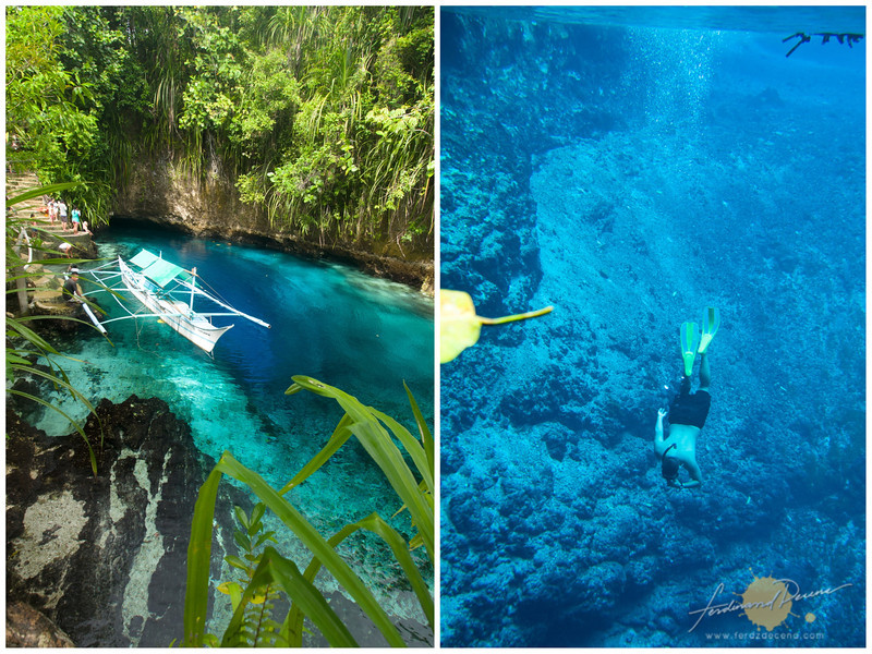 Having Hinatuan Enchanted River all to ourselves and the author freediving to explore its depths