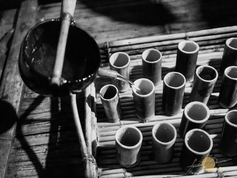 Serving pandan juice in bamboo cups