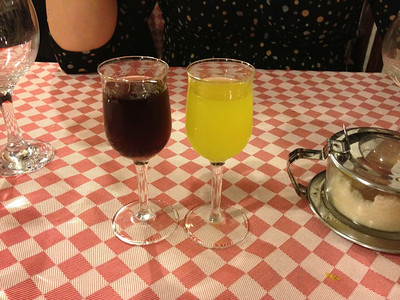 Limoncello and blueberry liqueur