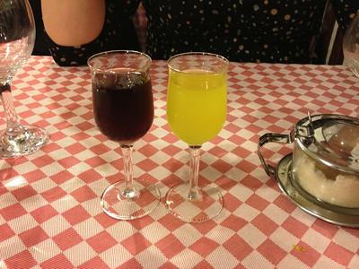 Limoncello and blueberry liqueur