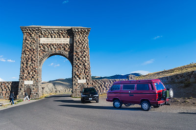 Stopped at Roosevelt arch for a photo