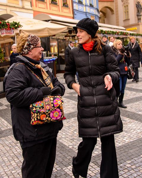 This is Eva and she is telling Sonja all about this clock and the attached building, which is our city hall.  She is one of the best private guides in Prague.