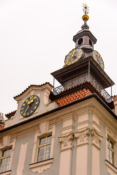 This is the old Synaugue, that was closed under the Communist rule, and still functions as a museum.  Note the lower clock on the building.  It has Hebrew numbers and reading Hebrew from the right to left -- the clock has to run backwards.