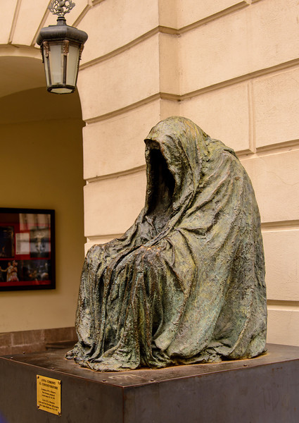 This is a sculpture out side of the Opera House of the ghost from Mozart's opera the Marriage of Figaro.