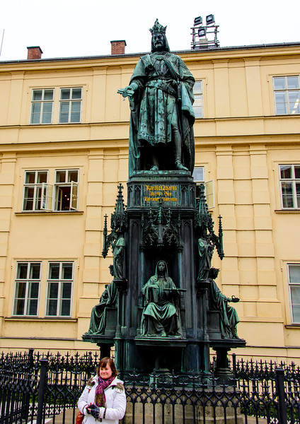 Charles the IV.  Read up on his reign if you're interested.  He was very instrumental in developing a lot of the planning in what we call modern Prague.  Charles is known as the father of the country.  He built the Charles bridge, and started the Prague Castle.