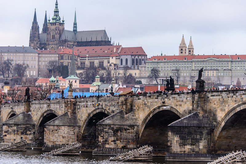 """This is the central landmark of Prague,  The Prague castle and St. Vitus church.  The castle complex is now the """"White House"""" of Czechoslovakia.  Let's take a look at it."""