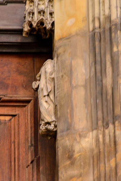 During one of the religious upheavals some one took all the Saints heads off from the reliefs on this church