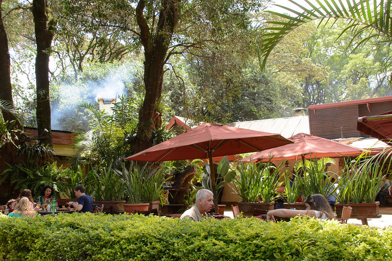 One of the many great outdoor restaurants.  Nairobi sits on the equator, sunset and sunrise about the same time each day, as well as the same mid 80's temp.